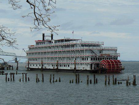 Riverboat, Sternwheeler, Boat, River, Astoria