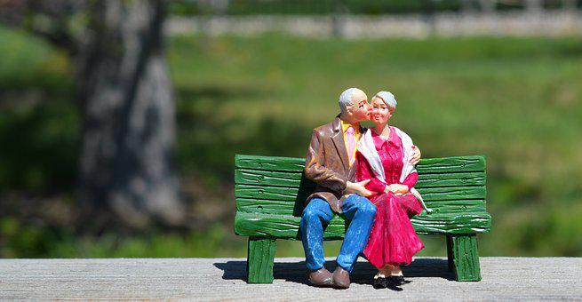 Old Couple, Sitting, Grandparents, Bench, Kissing