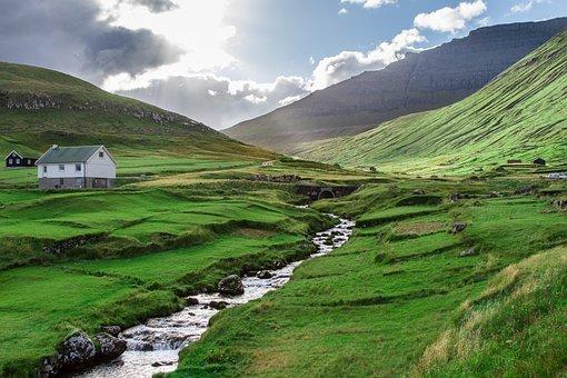 Blue, Clouds, Faroe Islands, Green, Mountain