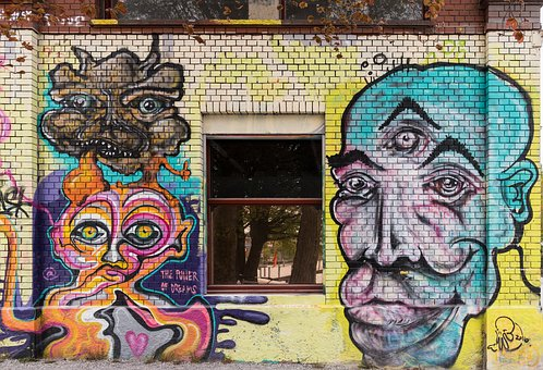 Graffiti, Purple, Blue, Head, Djinn, Window, Decoration