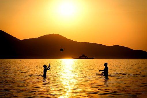 People, Kids, Boy, Man, Male, Sunset, Sea, Sky, Sun