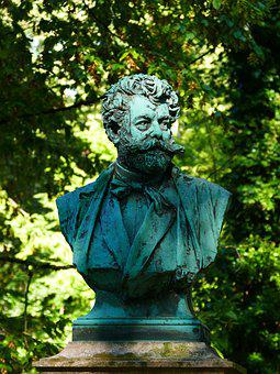 Bust, Cemetery, Munich, Southern Cemetery, Copper, Face