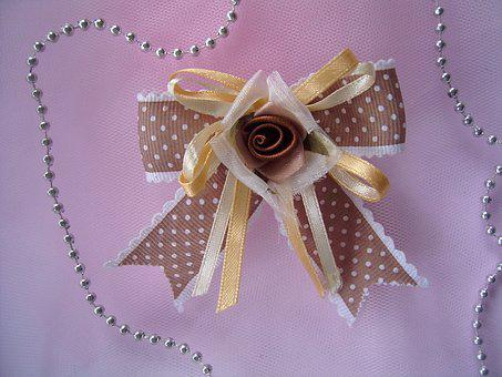 Ribbon, Bow, Flower, Hair Clip, Decoration