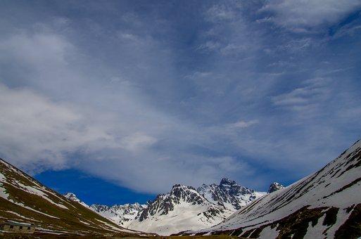 Highland, Glacier Valley, Valley, Snow, Stone, Summit