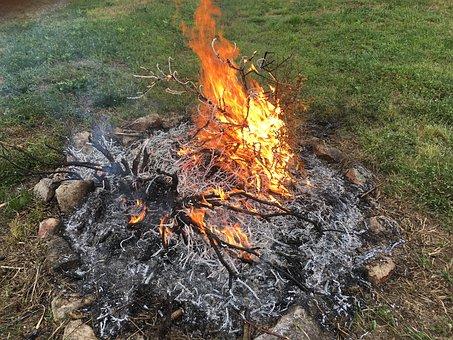 Smolder, Fire, Burn, Glow, Smoke, Firewood
