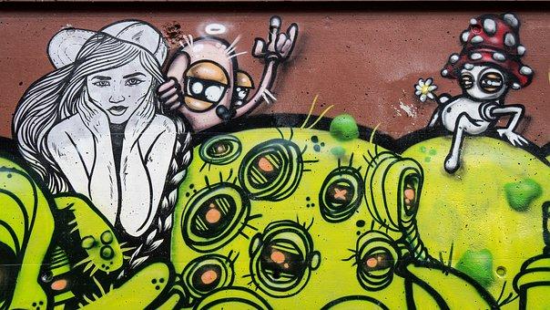 Graffiti, Decoration, Woman, Green, Painted, Wall, Art