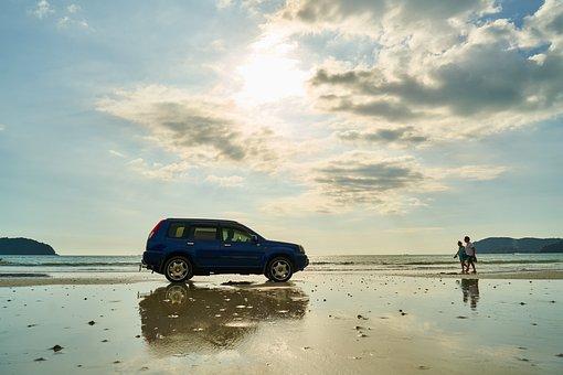 Car, Jeep, Beach, Marine, Nature, Landscape, Sky, Solar