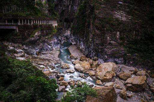 Taroko National Park, Waterfall, Rocks, Landscape