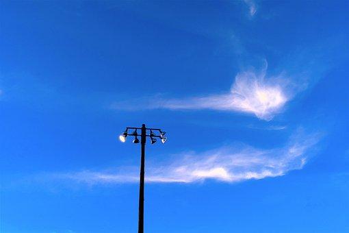 Light Pole, Sky, Clouds, Blue, Blue Sky, Pole, Steel