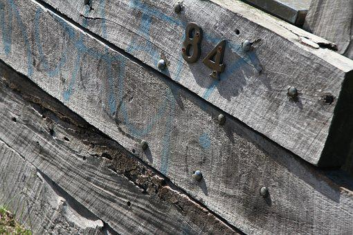 Number 84, Wood, Pine Sleepers, Fence, Wooden Fence