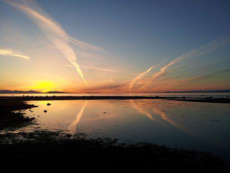 Sunset, Qualicum Beach, Vancouver Island, Beach, Ocean