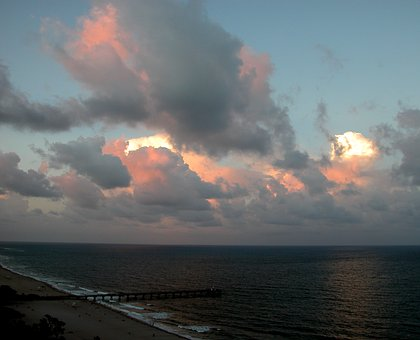 Clouds, Clouds Over Atlantic Ocean, Pier, Shoreline