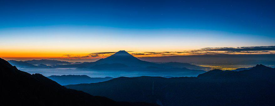 Panoramic Landscape, Mt Fuji, Before Dawn, Silence