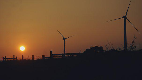 Wind Mills, Solar Power, Sunrise, Wind, Energy, Power
