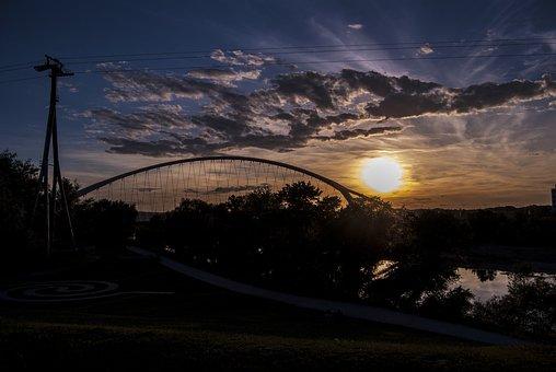 Water Park, Saragossa, Park, Water, Sunset, Nature
