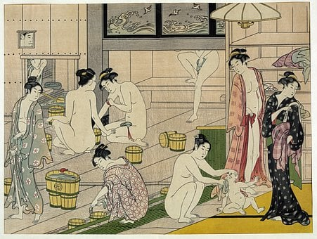 Bathhouse, Bad, Women, Naked, Unclothed, Asia, Japan