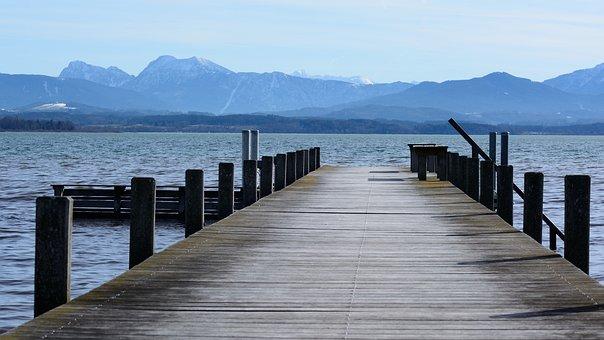 Boardwalk, Web, Waters, Lake, Chiemsee, Bavaria