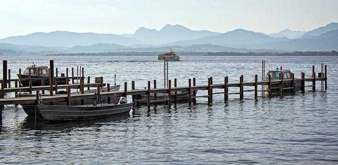 Transport, Port, Boats, Anchorage, Lake, Chiemsee