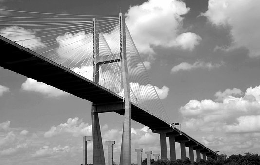 Bridge Span, Bridge, Black And White, Savannah, Georgia