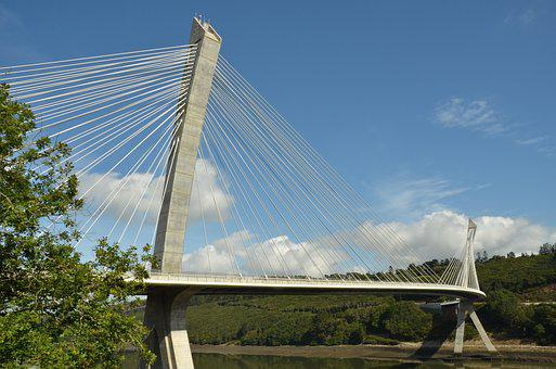 Bridge, Steel, Metal, Cable, River, Aulne