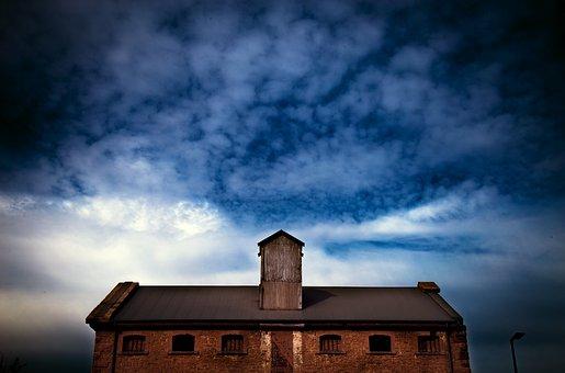 Warehouse, Industrial, Sky, Cloudy, Building, Brick