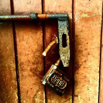 Padlock, Old, Wood, Rusty, Door, Gate, Lock