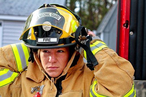 Woman Fire Fighter, Fire Fighter, Fire Brigade, Woman