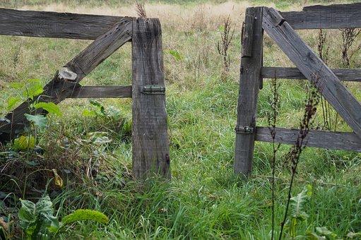 Goal, Wooden Gate, Input, Wood, Old, Access, Open