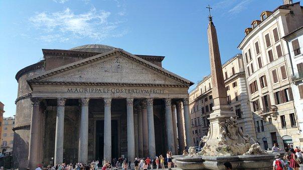 Pantheon, Rome, Italy, Monument, Rotunda, Obelisk