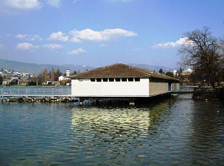 Lake Zurich, Rapperswil Jona, Bathhouse, Stege