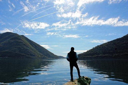 Scenery, Lake, Man, Boy, Male, Looking, View, Landscape