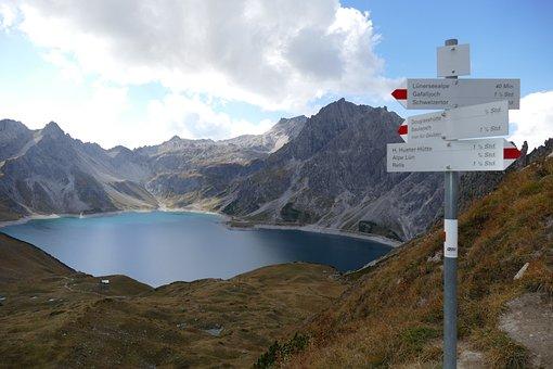 Reservoir, Dam, Lüner Lake, Mountains, View, Outlook