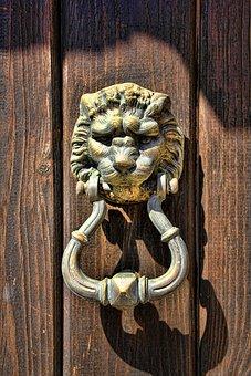 Doorknocker, Lion Head, Door, Metal, Input, Old, Ring