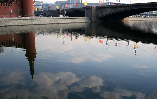 River, Moscow, Russia, Water, Blue Sky, Day Time