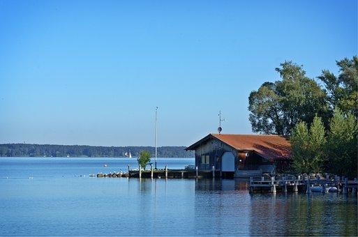 Log Cabin, Boat House, Boardwalk, Web, Nature, Water