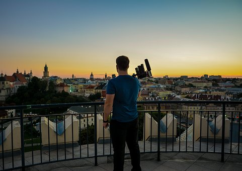 Video, City, Panorama, Night, The Old Town, Poland
