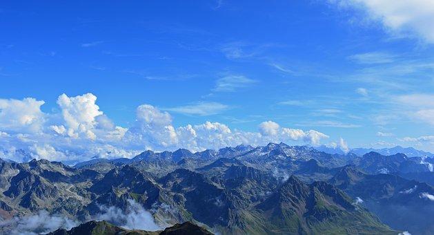 Pyrénées, Mountain, Landscape, Panorama, France, Summit