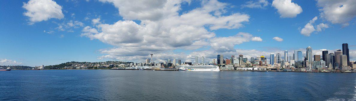 Seattle, Panoramic, City, Washington, Waterfront
