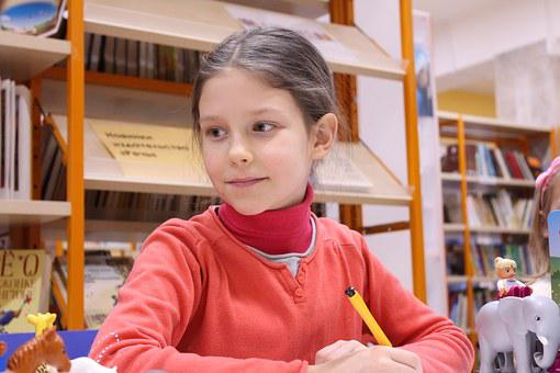 Girl, Smile, Pen, Sweater, Lesson, School, Occupation