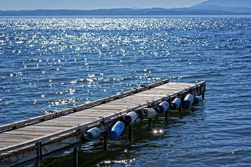 Sunlight, Mirroring, Water, Lake, Boardwalk, Pier, Wide
