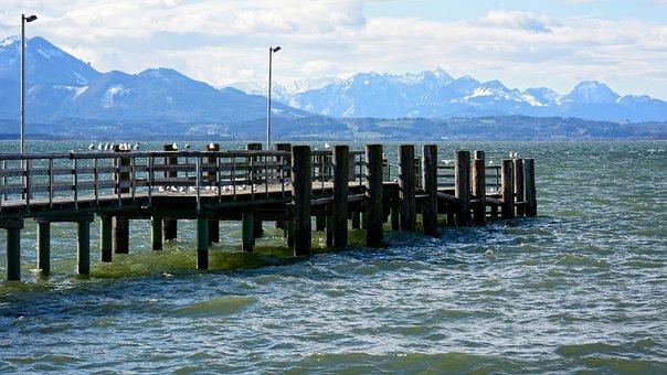 Jetty, Web, Wood, Pier, Landscape, Lake, Chiemsee
