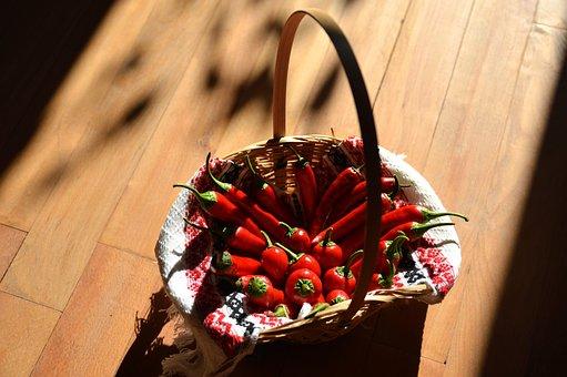 Chilli Pepper, Red Chilli, Wicker Basket, Plant