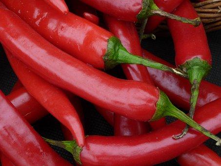 Chilli, Peppers, Red Chilli, Green Stalks, Vegetable