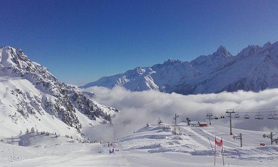 Chamonix, Winter, France, Alps, Ski, Resort, Slopes