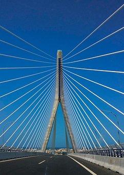 Bridge, Steel, Road, Cadiz, Ropes, Perspective