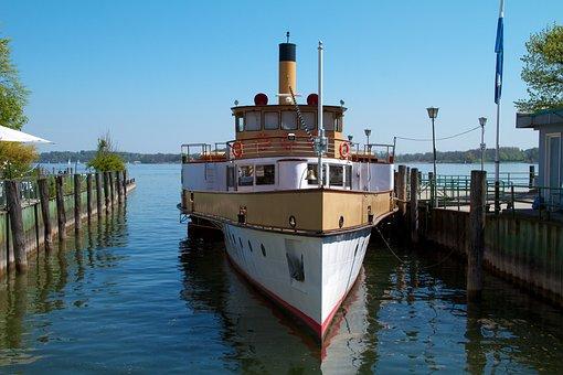 Chiemsee, Lake, Prien, Historically, Sidewheelers, Ship