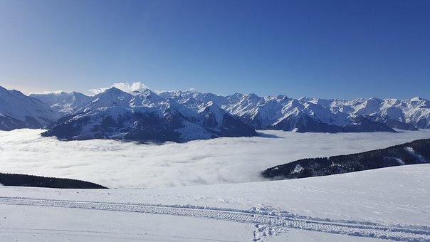 Ski, Snowboard, Alps, Austria, Snow, Blue Sky, Sunny