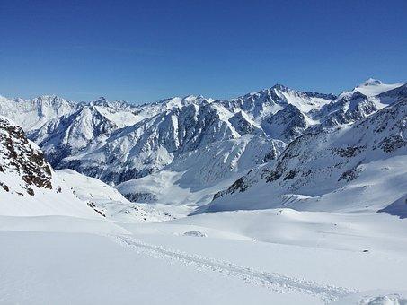 Stubaital, Stubai Glacier, Summit, Snow, Winter