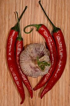 Garlic, Chilli, Pepper, Vegetable, Food, Spicy, Peppers