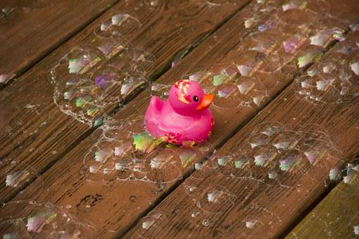 Rubber Duck, Bubbles, Toy, Water, Child, Fun, Childhood